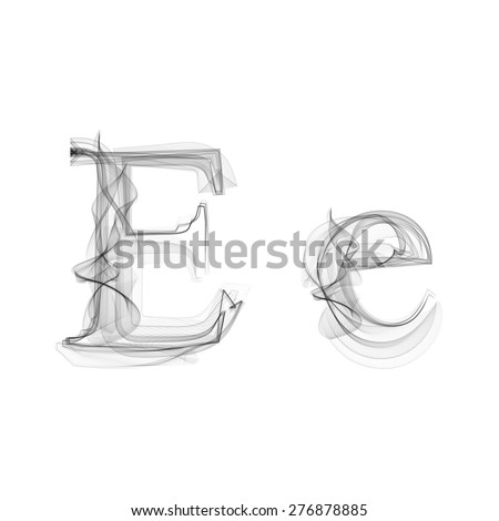 Black Smoke font on white background. Letter E. Vector illustration alphabet - stock vector