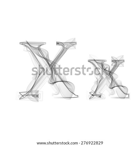 Black Smoke font on white background. Letter X. Vector illustration alphabet - stock vector