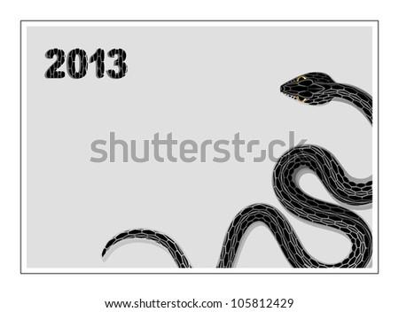 black snake symbol New Year 2013. vector illustration - stock vector