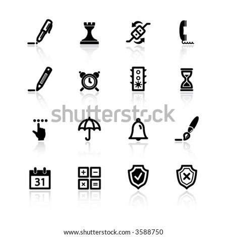black software icons - stock vector