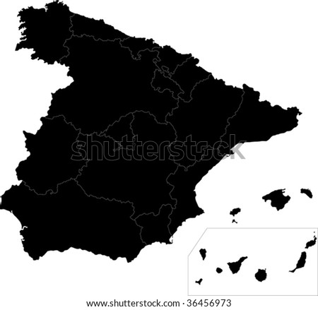 Black Spain map with region borders - stock vector