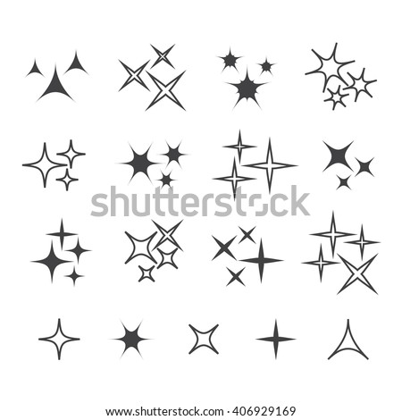 Black sparkles, glowing light effect stars and bursts vector set. Bright firework, decoration twinkle, shiny flash vecor illustration