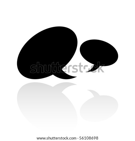 Black speech bubbles isolated on white - stock vector
