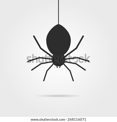 black spider icon with shadow. concept of spidery, fright, gossamer, crawly wildlife, deadly, arachnophobia, venom, ambush hunter, toxic beetle. flat style modern logo design vector illustration - stock vector