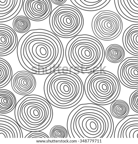 Black spiral wood cork texture seamless vector pattern. Black line circles on white background. Geometric round random abstract shapes. - stock vector