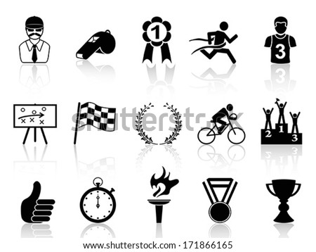 black sport icons set - stock vector