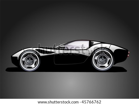 black sports car on dark background, vector illustration, original design - stock vector