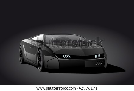 black sportscar on dark background, vector illustration - stock vector