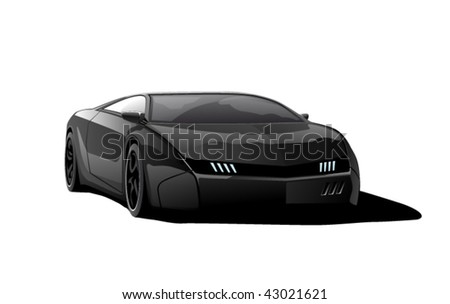 black sportscar, vector illustration, isolated on white background - stock vector
