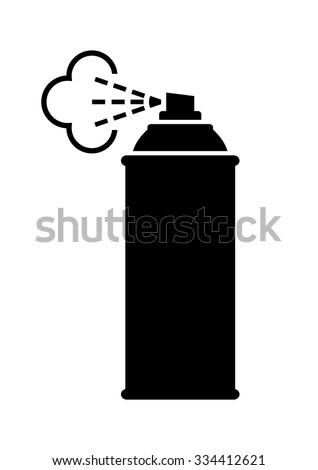 Black spray can icon on white background - stock vector