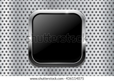 Black square button on metal background. Vector illustration