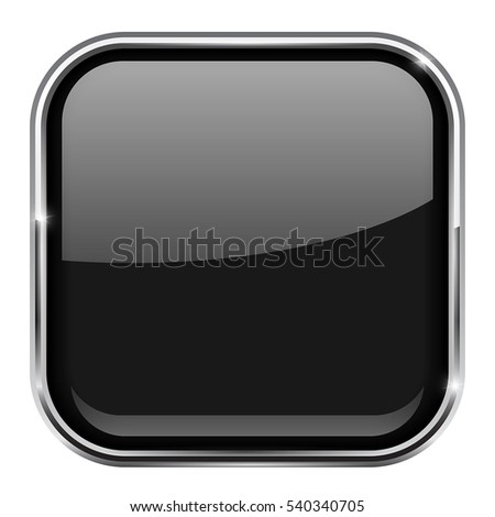Black square button. Shiny 3d icon with metal frame. Vector illustration isolated on white background.