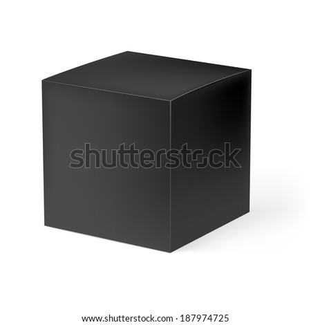 Black square carton box isolated on white background - stock vector