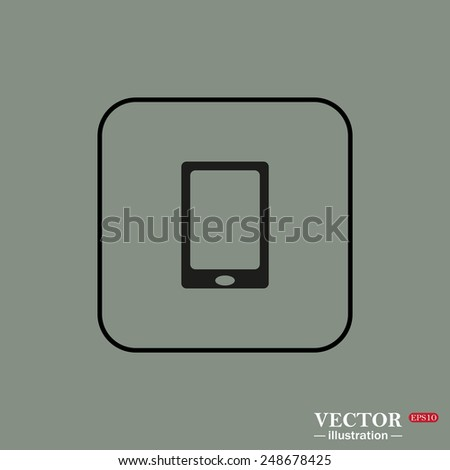 Black square frame on a green background. Smartphone, phone, mobile phone , vector illustration, EPS 10 - stock vector