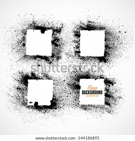 Black square frames set in the grunge style - stock vector