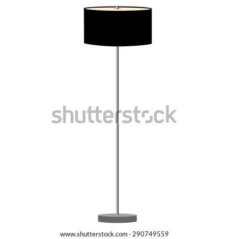 Black standing lamp vector illustration. Floor lamp. Modern lamp - stock vector