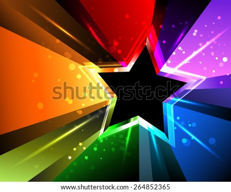 black star with rainbow rays and bright sparks