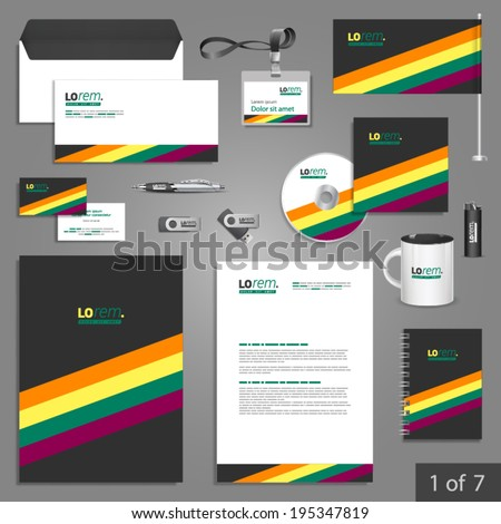 Black stationery template design with color lines. Documentation for business.