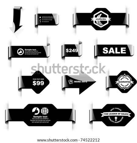 Black sticker and  badge set. Design elements for sale banner. Warranty tags. - stock vector