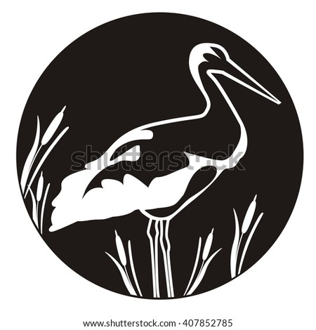 Black Stork Illustration. Heron icon. Bird icon.