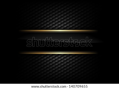 black stripe with gold border on the dark background - stock vector