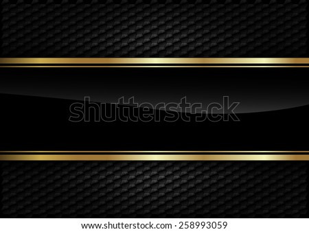 Black stripe with gold border on the dark background. - stock vector