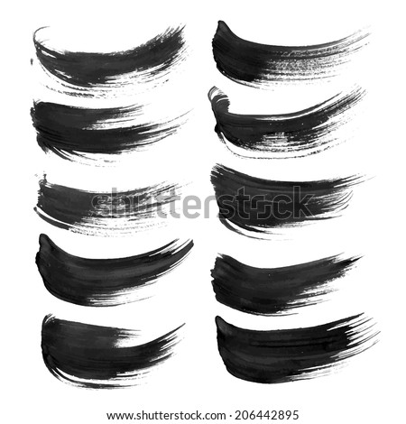 Black strokes painted with paint on white background 1 - stock vector