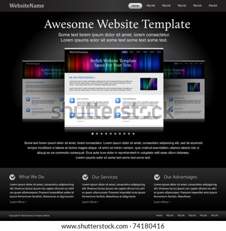 black stylish website template for designers - stock vector