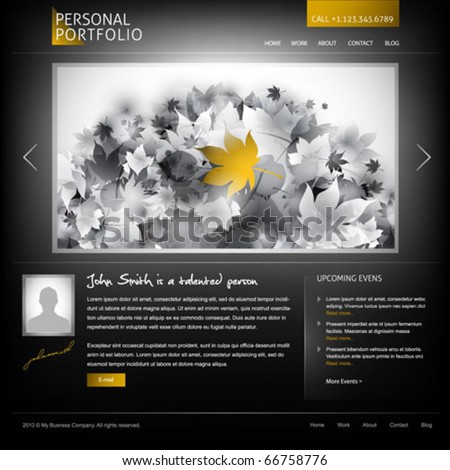 black stylish website template for personal portfolio - perfect layout for photographers and designers