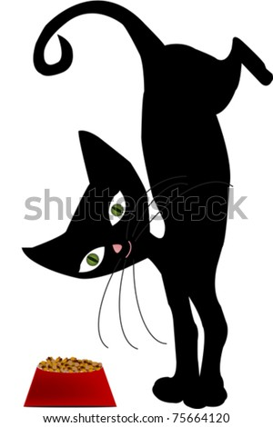 Black stylized cat with bowl of food - stock vector