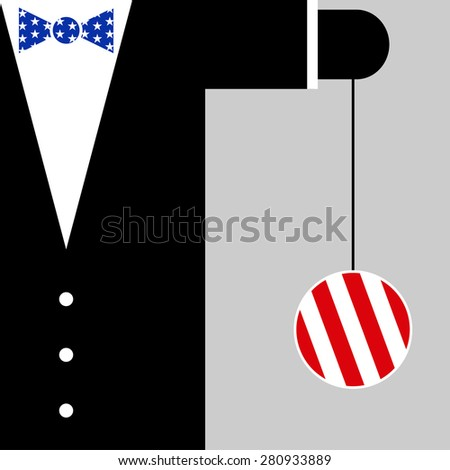 black suit with the symbols of USA flag - blue bow tie with white stars and yo yo with red and white stripes - stock vector