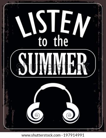 black summer poster - stock vector
