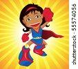 Black Super hero Girl. Editable Vector Illustration - stock vector