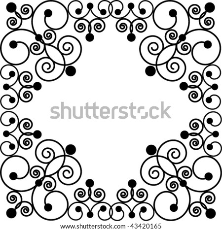 Black swirly frame - stock vector