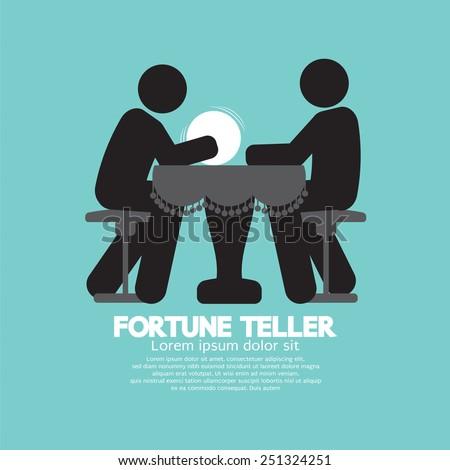 Black Symbol Fortune Teller With Crystal Ball Vector Illustration - stock vector