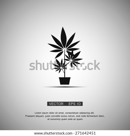 Black symbol growing marijuana. Vector eps 10 - stock vector