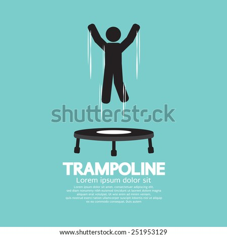 Black Symbol Of A Person Jumping On Trampoline Vector Illustration - stock vector
