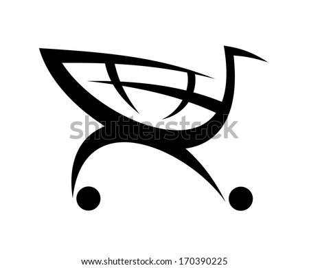 Black symbol of a shopping cart logo, isolated on white background - stock vector