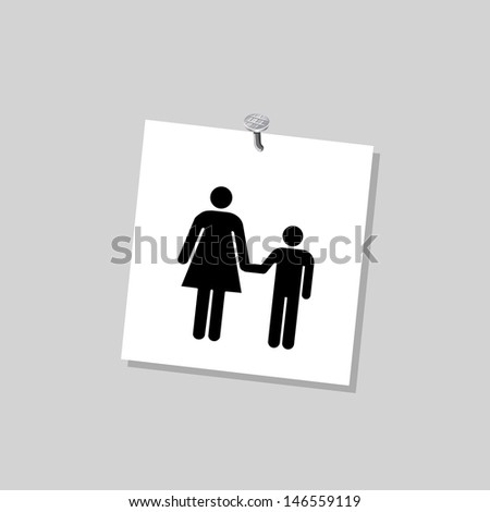 Black symbol son and mom on a paper - stock vector