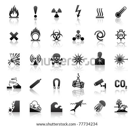 black symbols danger icons - stock vector