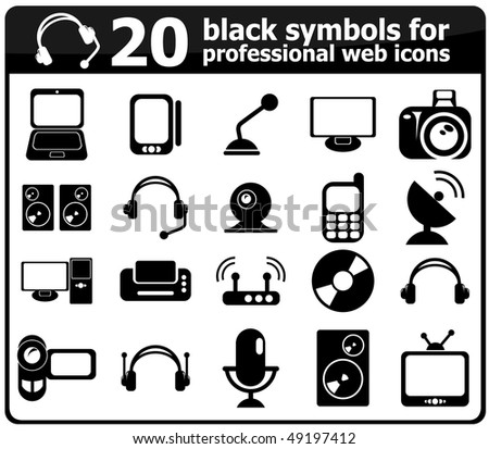 Black Symbols Professional Web Icons Stock Vector 49197412
