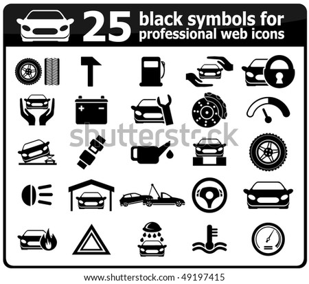Black Symbols Professional Web Icons Stock Vector 49197415