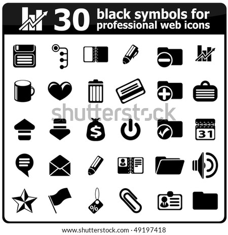 Black Symbols Professional Web Icons Stock Vector 49197418