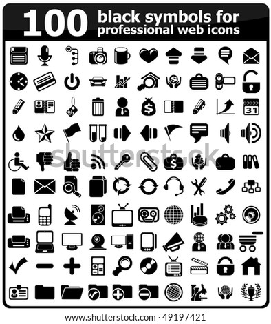 black symbols for professional web icons