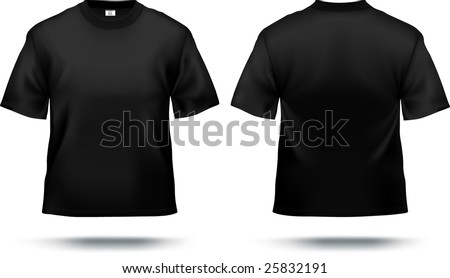 Black T-shirt design template (front & back). Contains gradient mesh elements, lot of details. More clothing designs in my portfolio! - stock vector
