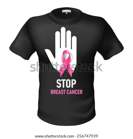 Black t-shirt with sign Stop Breast Cancer. White hand with pink ribbon - stock vector