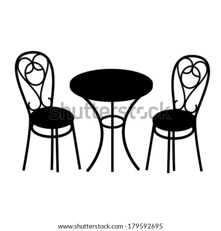 black table and chair - stock vector