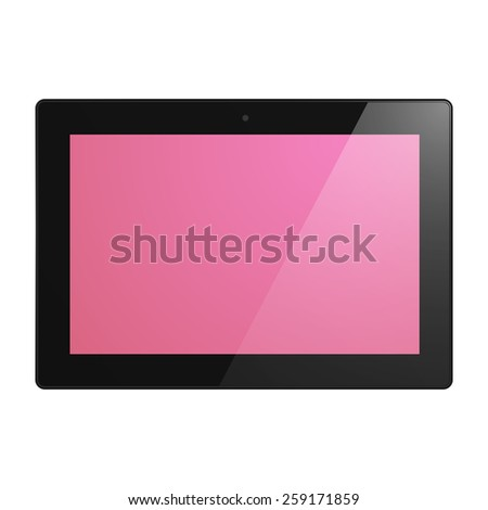 Black Tablet Computer with pink display.  Illustration Similar To iPad. - stock vector