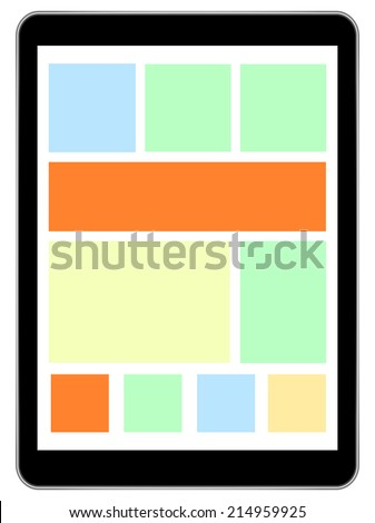 Black Tablet Device In iPad Air Style With Live Tiles On Isolated White Background - stock vector