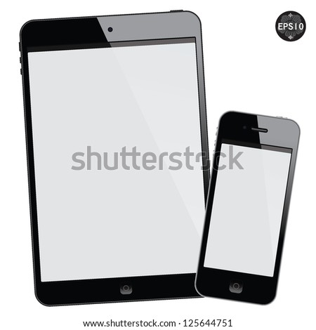 Black tablet mini and smart phone on white background, vector - stock vector